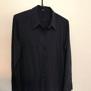 Theory Navy Button down Blouse Medium